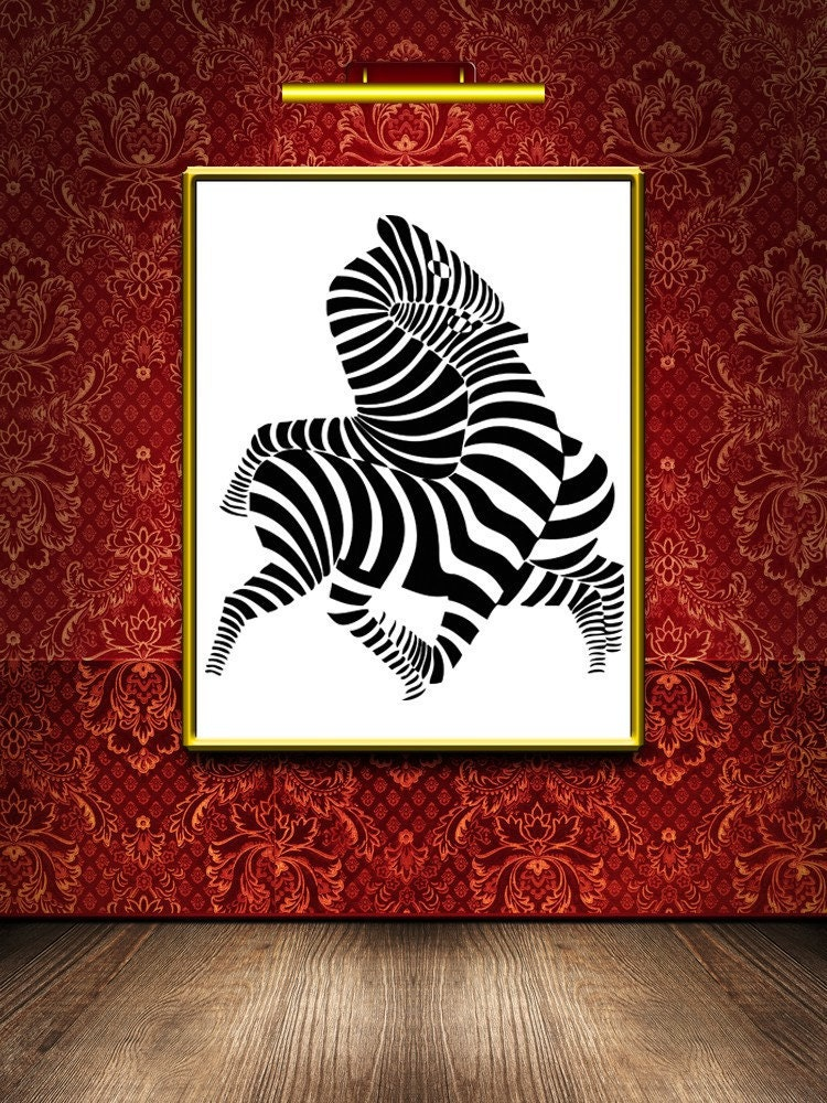 Zebra Room Decor Zebra Art Zebra Wall Decal Zebra Decor