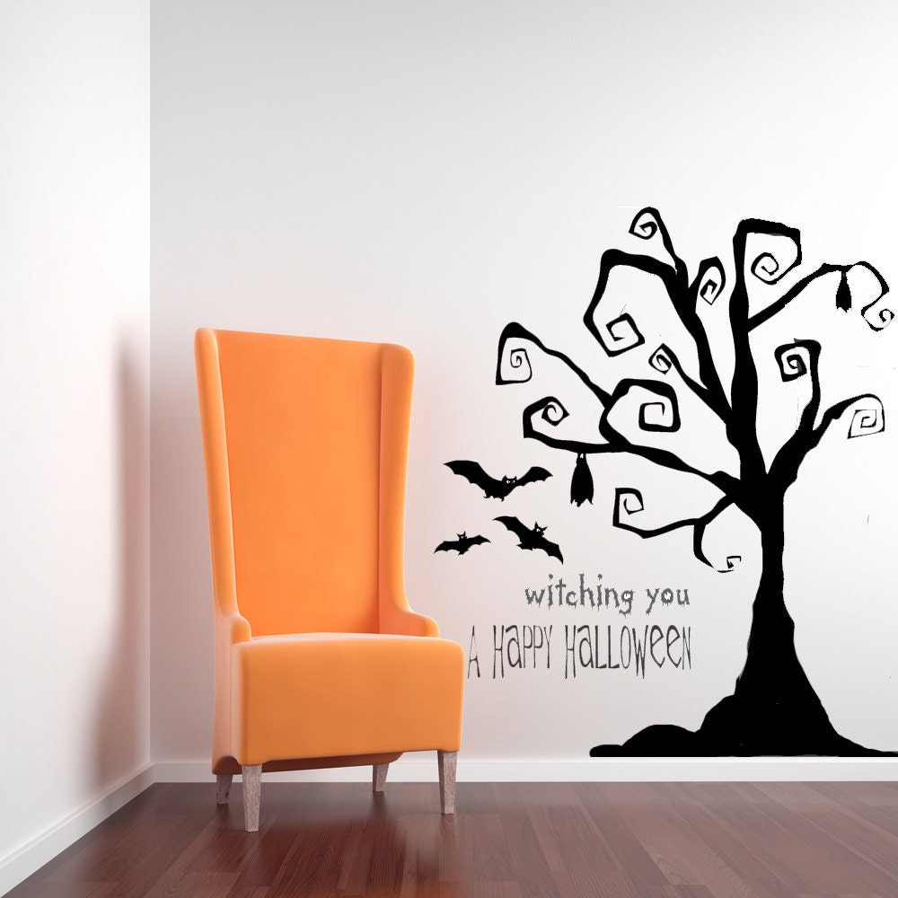 Tim Burton Decor Tree Wall Decal Tree Decal Halloween Tree - Vinyl wall decals home party