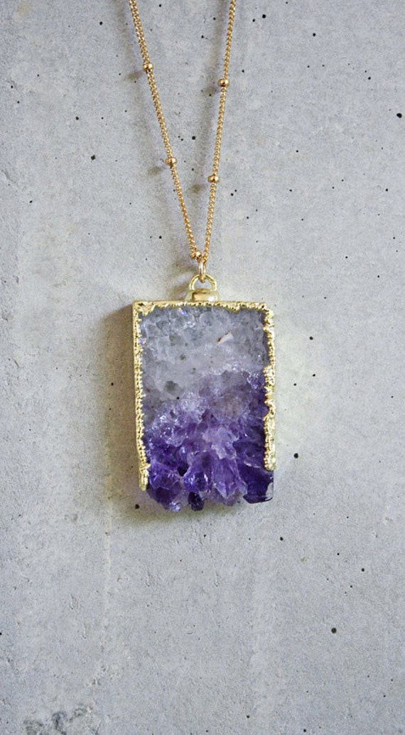 Reserved - Raw Amethyst Slice Necklace