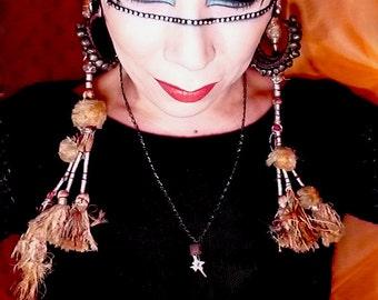 Snake Vertebrae Vintage African Trade Bead Gunmetal Chain Sexy 74