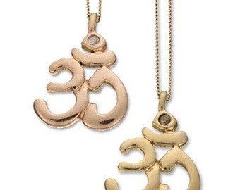 OM Pendant Necklace With Diamond set in Recycled 14K Gold.  OM Necklace, OM Charm, Om Jewelry, Yoga Jewelry, Yoga Necklace,Yoga Pendant Gift
