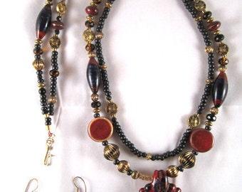East Indian Flavor Necklace, Bracelet & Earrings - 3 Piece Set