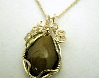 Gold-filled Wire-Wrapped Oval Tigereye Necklace