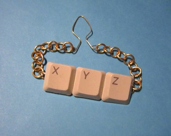 XYZ Tie Bar - or Pendant - with Upcycled Laptop Keys