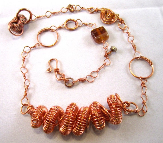 Tesla Coil - Copper Spiraling Spirals Necklace