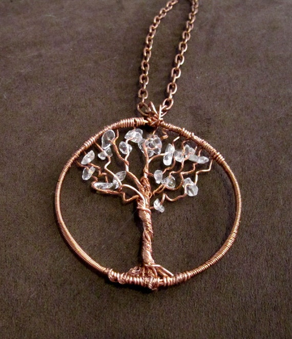 Repurposed Copper Wire & Clear Quartz Crystal Chips Tree of Life Necklace