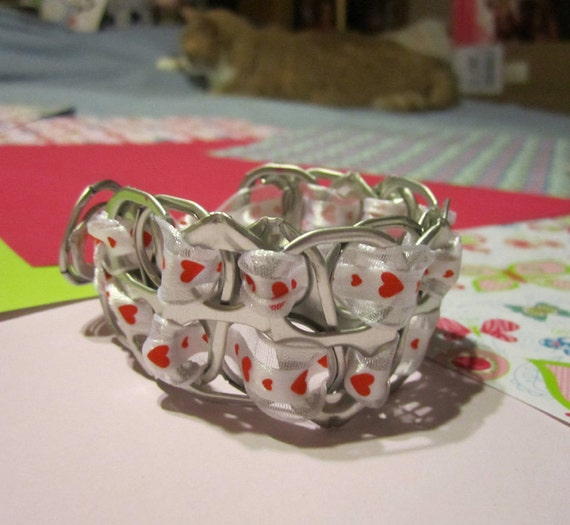 100% spcaLA Donation Item  - Lots of Love Hearts Upcycled Pop-Top Bracelet - NO coupon codes for donation items