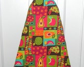 Ironing Board Cover - Pears and Apples in dark red, turquoise, green, brown and orange
