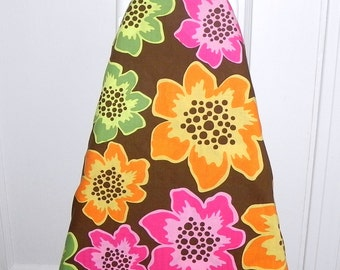 Ironing Board Cover -  Orange, pink and green tropical flowers - Laundry and Housewares