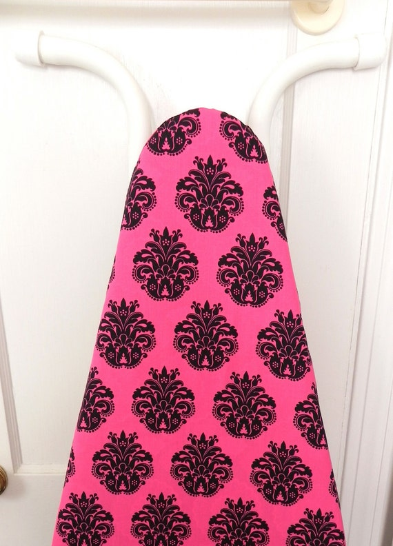 Damask Ironing Board Cover - Black and Hot pink flowers