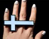 Custom Cross Ring (laser cut) Two Finger