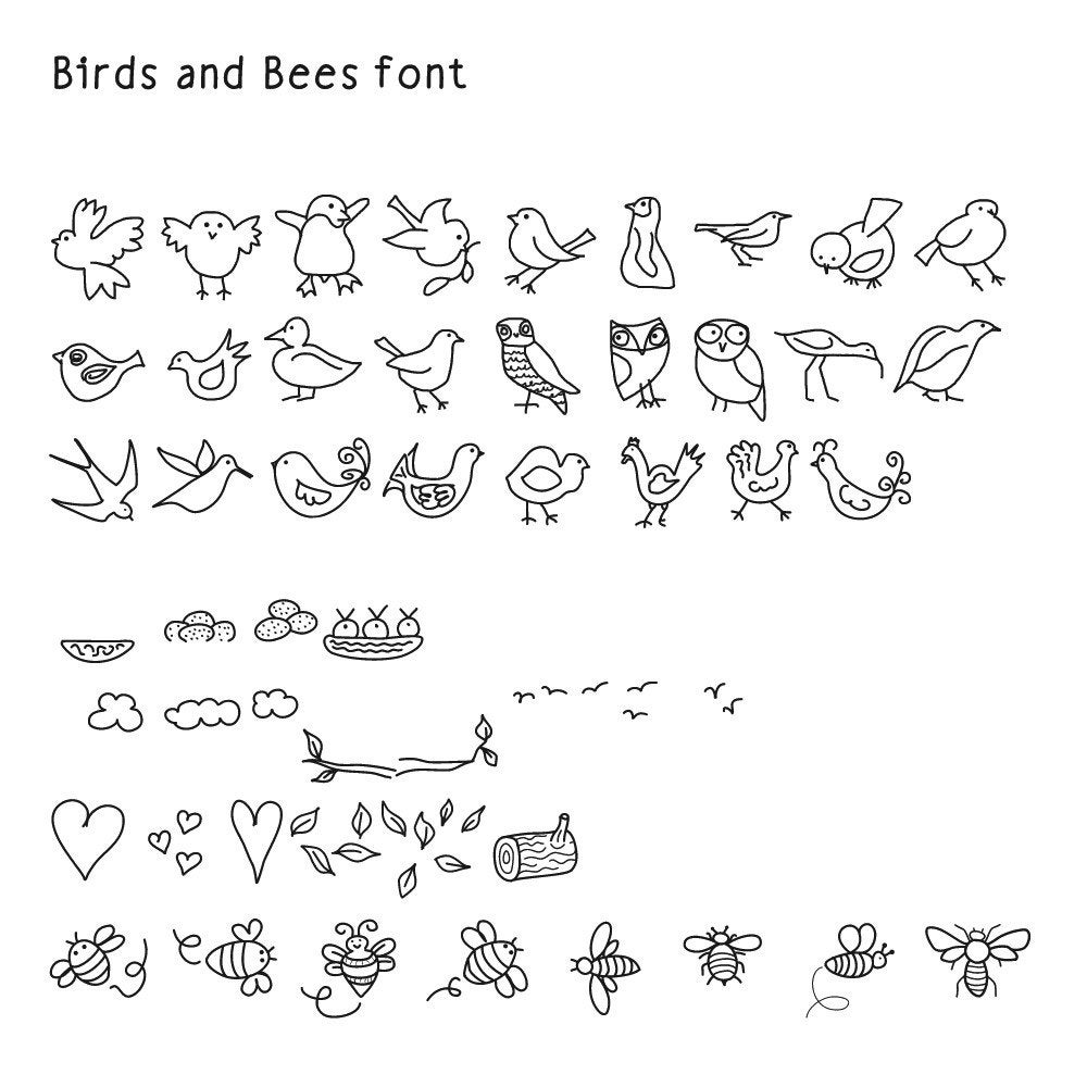 Font Dingbat Birds And Bees Hand Drawn Digital