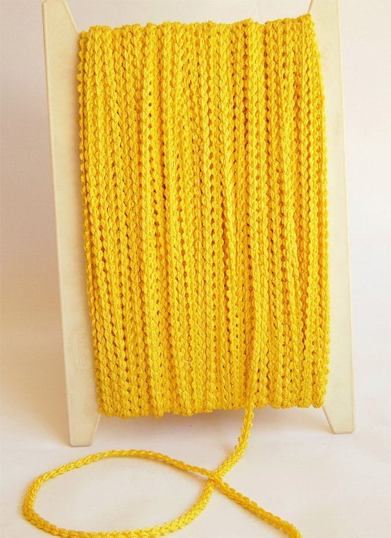 RESERVED LISTING for Stuart - 18 yds. Vintage Cording - 1970's, Rayon, Yellow Braided Rope Cord, Draw Strings, Craft Projects