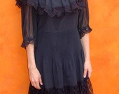 SALE Vintage 1960s 1970s Black BOHO Peasant GYPSY Ruffled Lace Swing Dress