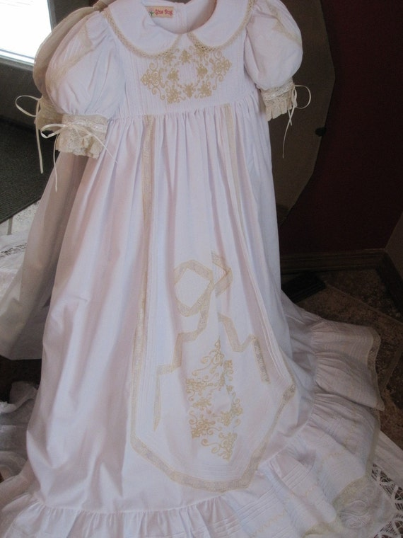 White with ecru christening dress only