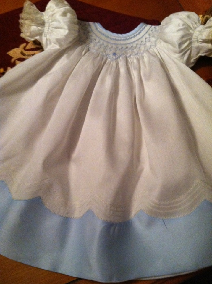 Hand Smocked Cream Blue Sateen Batiste Bishop Heirloom Dress