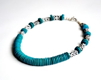 African Powder Glass & Teal Disc Tribal Necklace