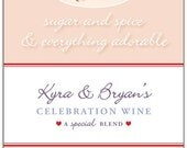 New Baby Wine Label 1 Set, Front AND Back labels - 'Sugar & Spice', New Mother or Shower gift
