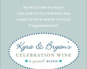 New Baby Wine Label 1 Set, Front AND Back labels - 'Welcome Joy 1', New Mother or Shower Gift