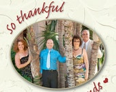 Thanksgiving Holiday Wine Label 1 Set, Front AND Back labels with Photo - 'Thankful'