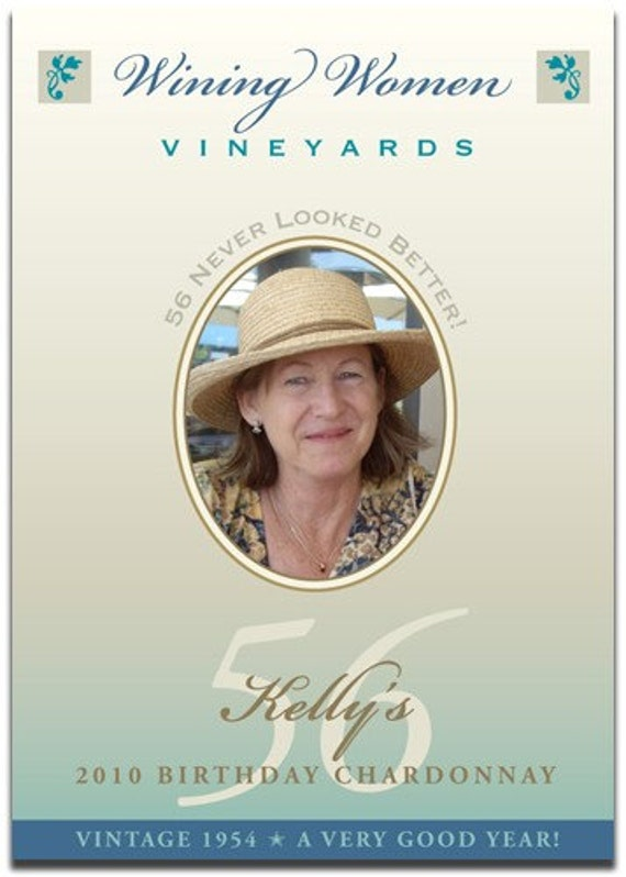 Birthday Wine Label with Photo - Front AND Back labels (1 'set') - 'Wining Women'