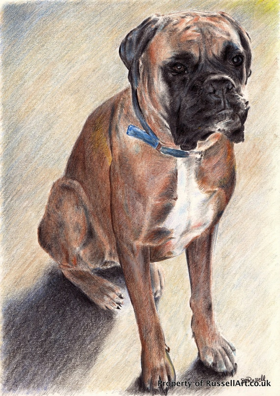 The Guardian - Boxer Dog LARGE A4 A3 or A2 Size Limited Edition Art Print from RussellArt