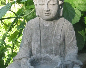 "Large Concrete BUDDHA Statue 14"" tall"