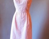 Pink 1960s Dress / 60s Cotton Sleeveless Sundress / 1960 Sheath Candy Stripe Dress