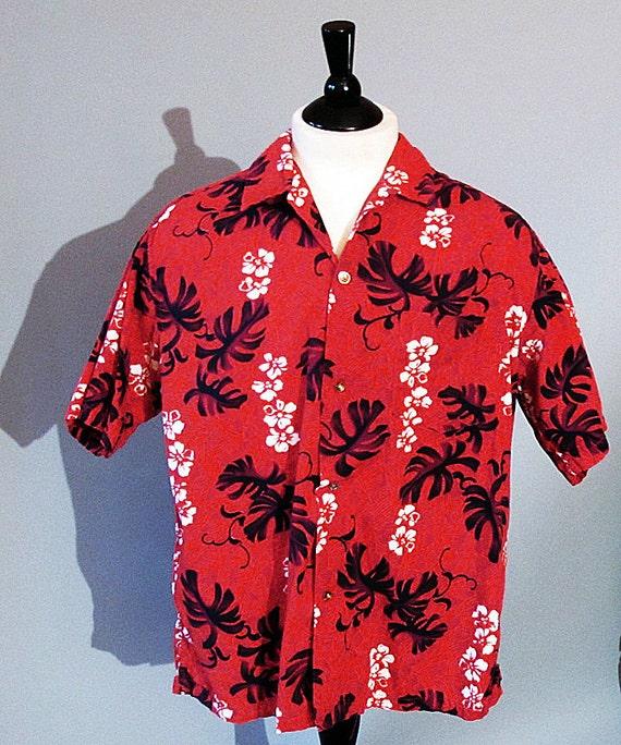 Red Hawaiian shirt / mens large 60s aloha shirt