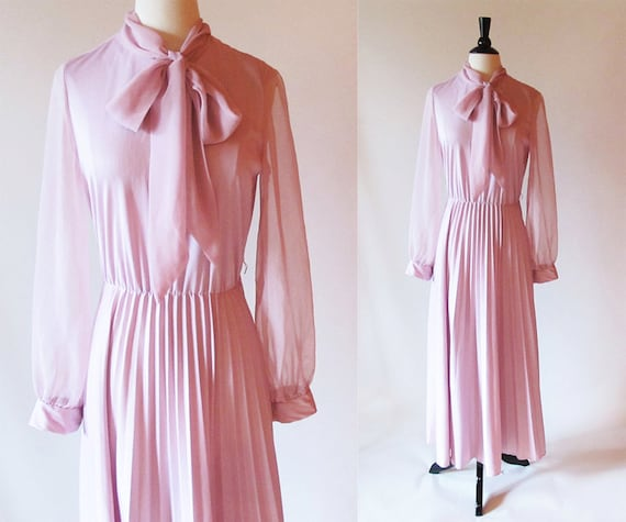 70s pink dress / long sleeve maxi dress