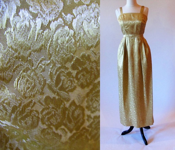 Vintage 50s Gold Evening Gown, 1950 Long Dress, Formal Brocade Dress, Small Vintage Gown