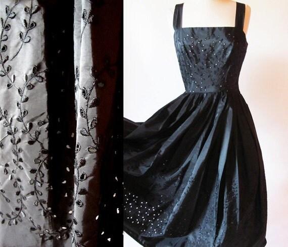 50's Swing Dress,  Eyelet  Dress, Taffeta Tea Length Gown, 1950 Rockabilly Pin Up Dress