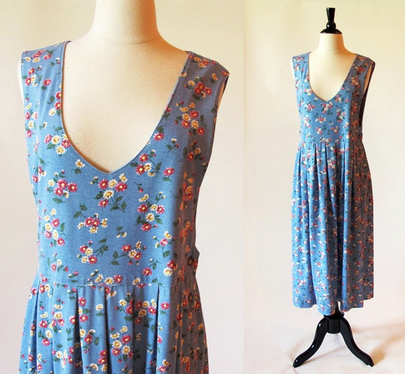 80s Cotton Knit Dress / Blue Floral Print Sleeveless Summer Jumper Dress