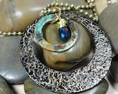 NECKLACE - Repurposed Metal Hoop Copper Patina Gold Wire Wrap Blue Swarovski Crystal Pendant Jewelry Necklace - Free Shipping