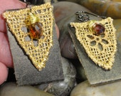 EARINGS - Repurposed Brown Leather Gold Lace Wire Wrap Topaz Swarovski Crystal Jewelry Earings - Free Shipping