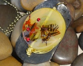 Womens Ladies Yellow Orange Butterfly Agate Gemstone Red Crystal Brown Leather Gold Wire Wrap Pendant Jewelry Necklace - Free Shipping