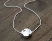 Silver Large Nugget Necklace / Round Pendant Sterling Silver Necklace / Minimalist Geometric Jewelry