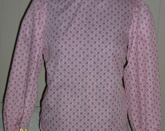 Lady's Pink and white Floral  Victorian Blouse - size large