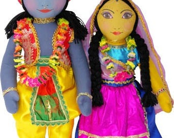 "Large Radha Krishna Doll set  21"" separate arms and legs"