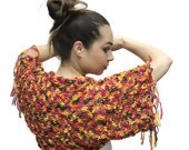 Knit Shrug, Short Summer Shrug Tropicana Punch, Summer Bolero, Summer Boho Fashion, Women, orange, yellow by Solandia