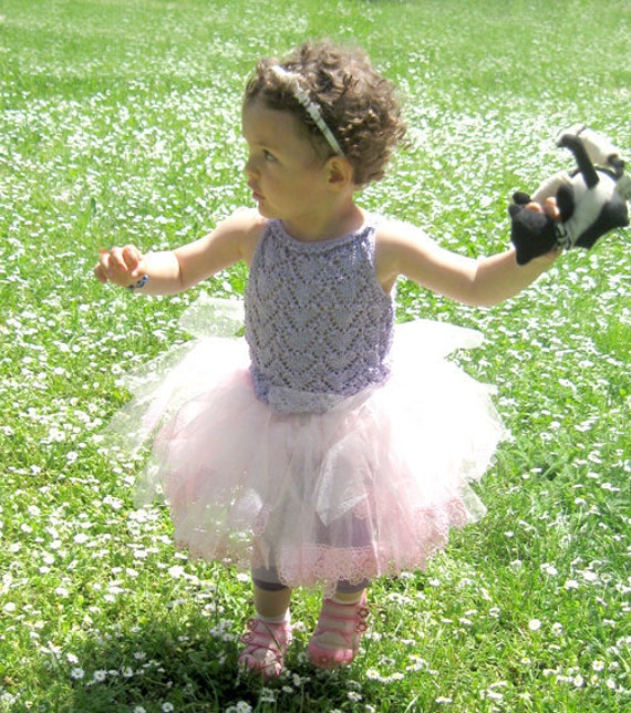 Girl Top Summer Heartshaped, Hand Knit Girl Tank, Silk Tutu Top 2 to 3 years girl, violet, purple by Solandia, Children Fashion