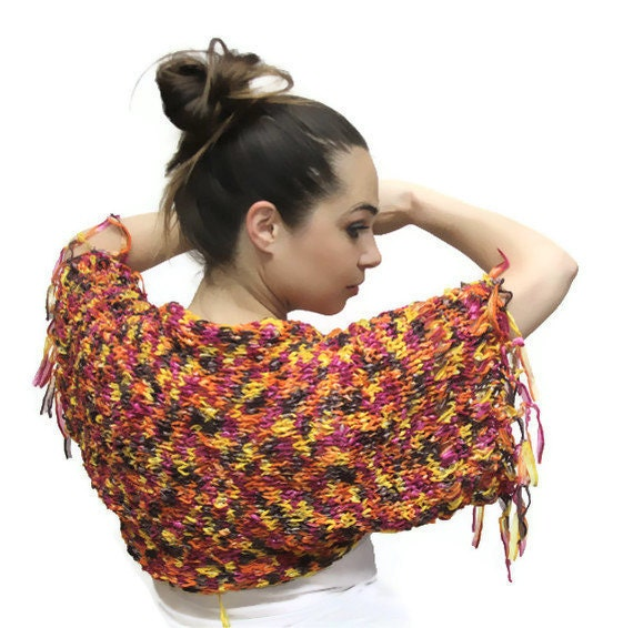 Knit Shrug, Short Summer Shrug Tropicana Punch, Summer Bolero, Summer Boho Fashion, Women, orange, yellow by Solandia
