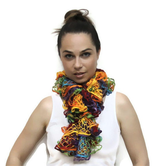 Summer Rainbow Scarf/ Ruffled Hand Knit Scarf/ Frou-Frou Lace Scarf/ Scarflette/ Fashion Accessories women by Solandia