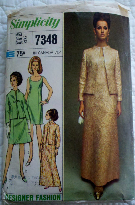 """60s Vintage Womens Sewing Pattern Mod Cocktail or Evening Length Dress and Jacket Simplicity 7348 Bust 32"""""""