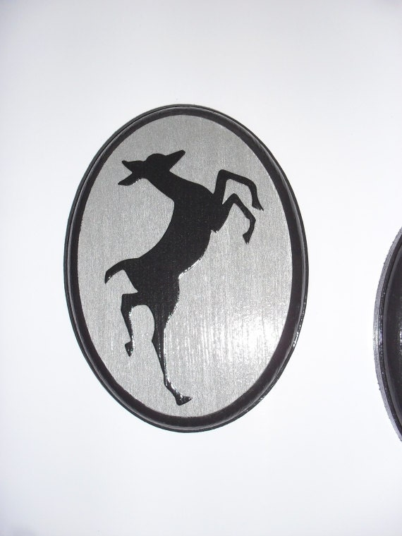PIF SALE Frolicking Reindeer Wall Hanging Set  Silver and Black Plaque Wall Hangings
