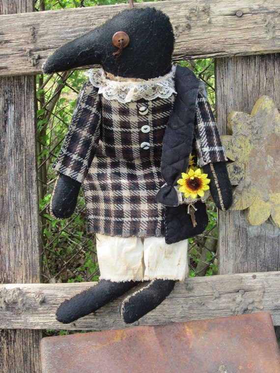 Primitive Crow Rag Doll Handmade Black Grubby Vintage sunflowers-TREASURY ITEM-thebagglady76