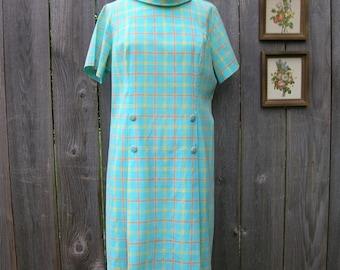 Vintage SIXTIES PLAID Day DRESS