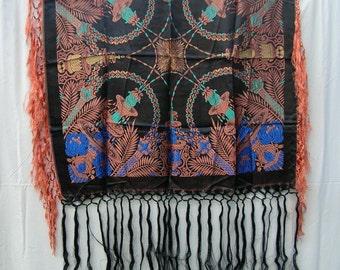 Vintage 40's GARDEN Of LOVE Taj Mahal Garden Silk Embroidered Piano Shawl