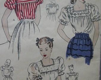 Fabulous Vintage 40's Vogue Blouse Misses Pattern BOHEMIAN BLOUSE