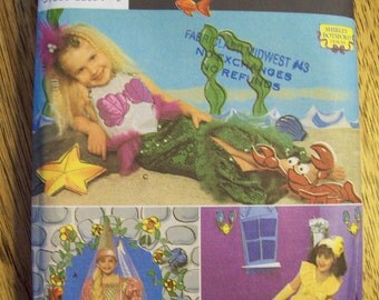 Princess BELLE or RAPUNZEL Dress or Ariel the Little Mermaid Costume - Sizes 3 - 4 - 5 - 6 - 7 - 8 - UNCUT Sewing Pattern Simplicity 643